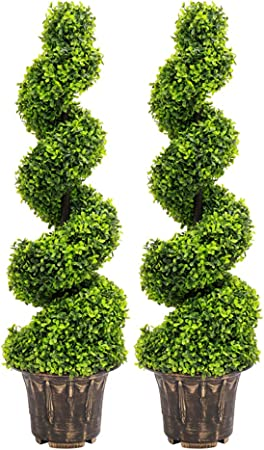 Cone Bay Boxwood Spiral Trees Realistic LARGE Artificial Topiary Ball Plants