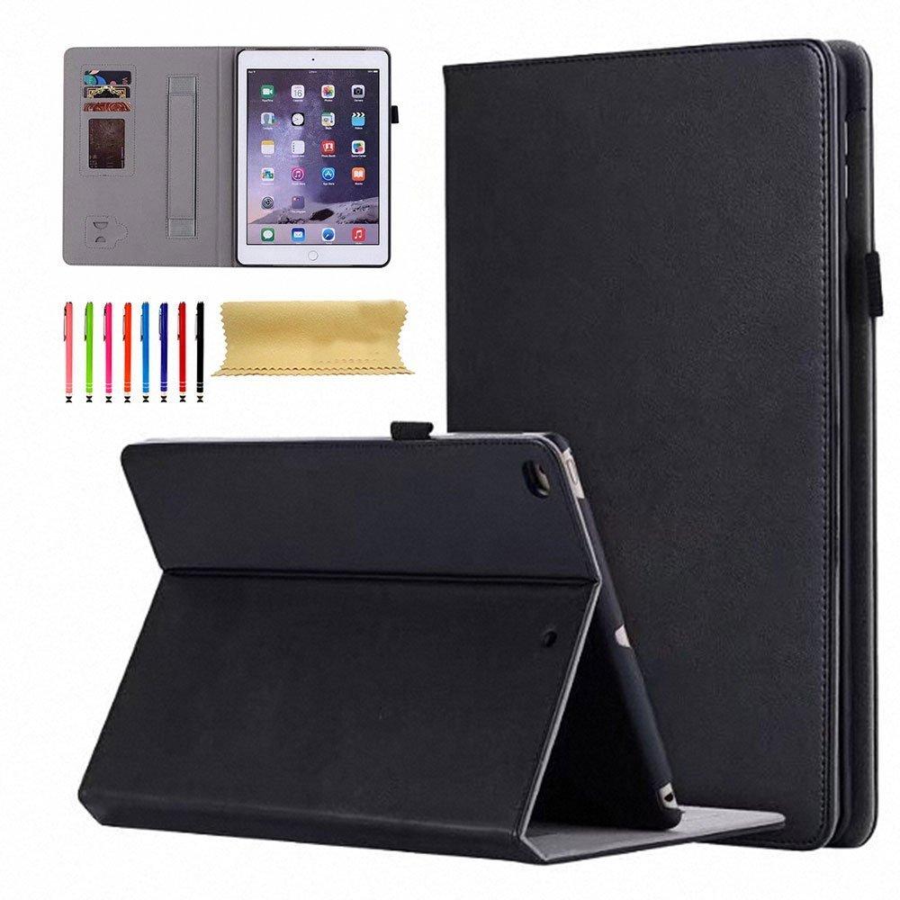 Uliked iPad Air 1 2/New iPad 2017 9.7 Folio Case, Slim Vintage PU Leather Auto Wake/Sleep Kickstand Cover with Hand Strap Stylus/Card Slots for Apple iPad 9.7 inch 2017/iPad Air 2/iPad Air 1,Black
