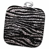 3D Rose Black Zebra Print Faux Bling Photo Not Actual Glitter-Fancy Diva Girly Sparkly Sparkles Pot Holder, 8 x 8'', Silver