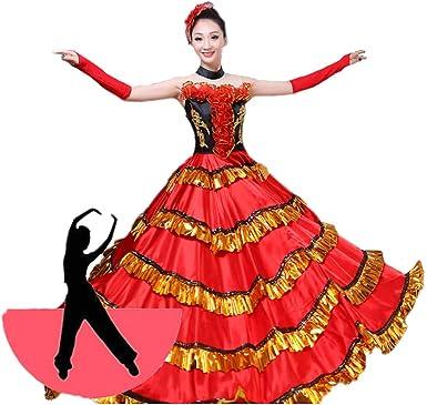 Yuyudou - Falda de toromacía española roja para Mujer, Vestido de ...
