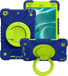SZCINSEN Tablet Case for iPad Mini4/5,Kids Durable Shockproof Protective Cover, with Folding Handle Stand, Rotating Kickstand,Carrying Shoulder Strap (Color : Navy Blue+Grass Green)