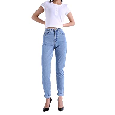 8f0806490784 Meet the beauty 2018 New Slim Pencil Pants Vintage High Waist Jeans New  Womens Pants Full