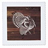 3dRose Russ Billington Designs- Thanksgiving - White Painted Turkey on Brown Weatherboard- Not Real Wood - 18x18 inch quilt square (qs_261841_7)