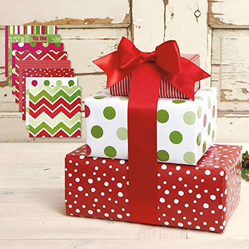 Flat Wrapping Paper Gift (Christmas Patterns Flat Gift Wrap Value Pack - 8 sheets)