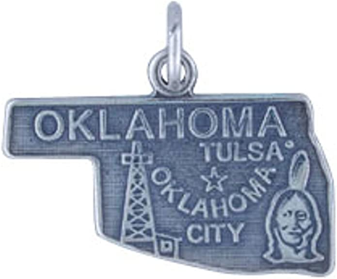 Sterling Silver 7 4.5mm Charm Bracelet With Attached OKLAHOMA State Map Outline Word Charm
