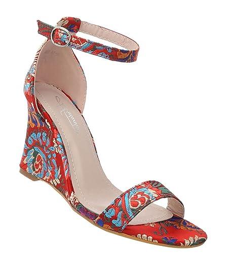 46c85665e281da Damen Schuhe Sandaletten Keilabsatz Wedges Designer Trend Pumps Keilpumps  Abendschuhe  Amazon.de  Schuhe   Handtaschen