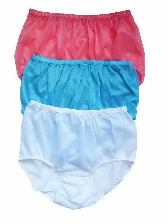 LPK28 Light Pink Light Blue White Lots 3 pcs Wholesale Lingerie Knickers Panties Underwear Briefs Women Ladies Silky Nylon Plus size Sheer Undies Apparel