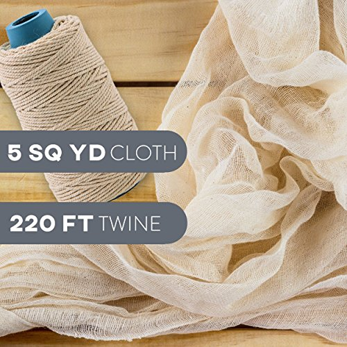 Cheesecloth and Cooking Twine - by Kitchen Gizmo, Grade 50 100% Unbleached Cotton (5 Yards/45 Sq. Feet) Cheese Cloth for Straining with 220 Ft Butchers Twine by Kitchen Gizmo (Image #1)'