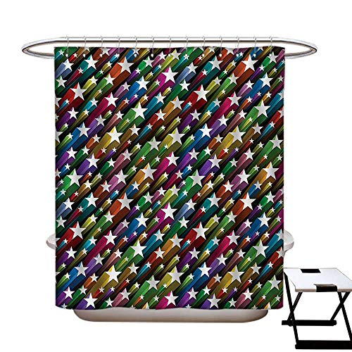 Colorful Hotel Quality Shower Curtain Liner Colorful Stars Pattern Celebration Theme Disco and Nightclubs Artistic Jolly Fun Eco Friendly,Rust Proof Grommets Holes -