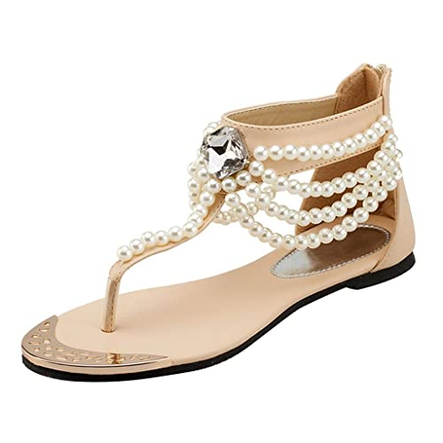 240792d628f7ce Dear Time Pearl Rhinestones Ankle Strap Summer Women s Thong Flat Sandals  Beige US 4.5