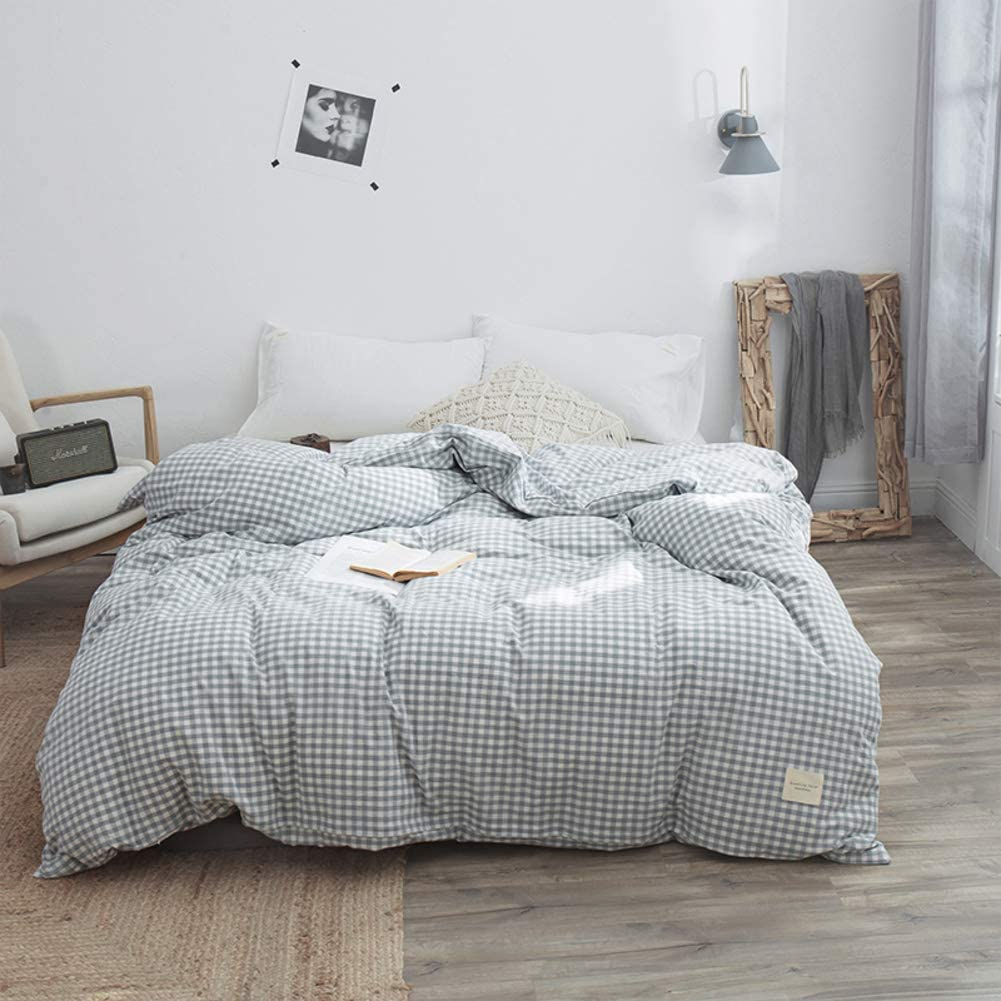 qwqqaq Washed Cotton Solid Color Duvet Cover,Breathable Easy Care Quilt Cover Ultra Silky Soft Bedding Collection Modern Comforter Cover-f 150x200cm(59x79inch)