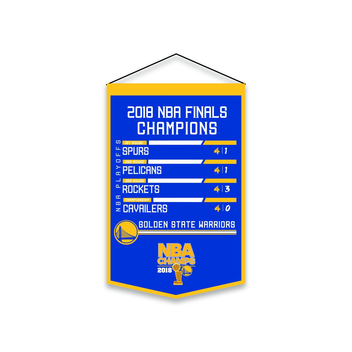 Winning Streak Golden State Warriors 2018 NBA Champions Printed 'Road to Champs' Banner