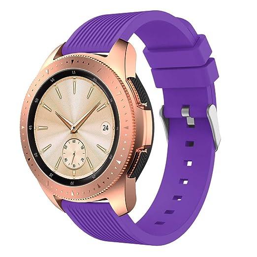 Samsung Galaxy Watch 46Mm Correa, Lanskirt Banda de Reloj Moderno Reemplazo Correa de Silicona de Rayas Rectas para Reloj Inteligente de Samsung Galaxy ...