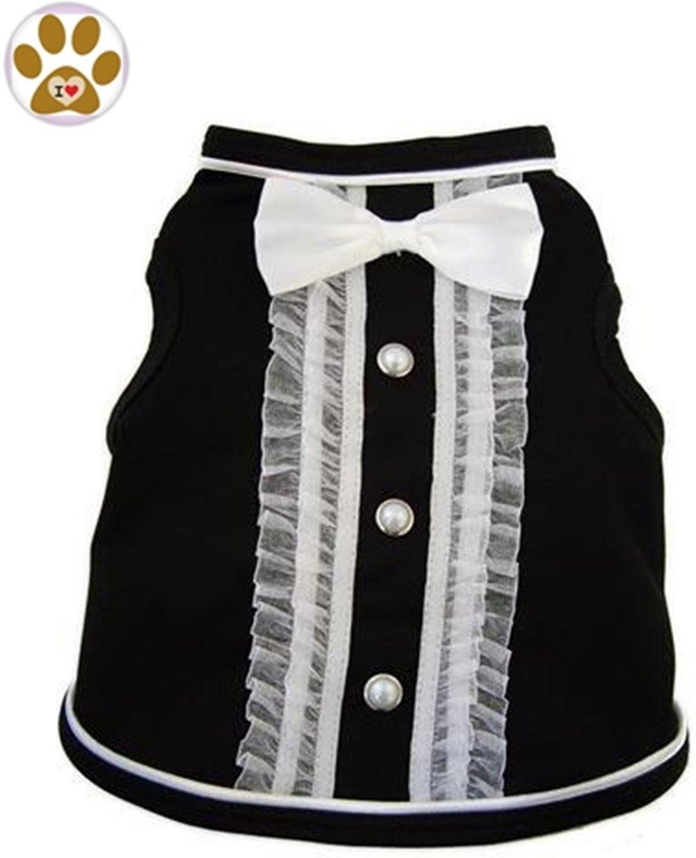 Black Ivory Medium Chest 16\ Black Ivory Medium Chest 16\ Black Formal Bow Tie Tuxedo Styled Tank T-Shirt and Pin for Dog Sizes XS thru 2XL (Medium Chest 16 -18, Neck 14 , Black Ivory)