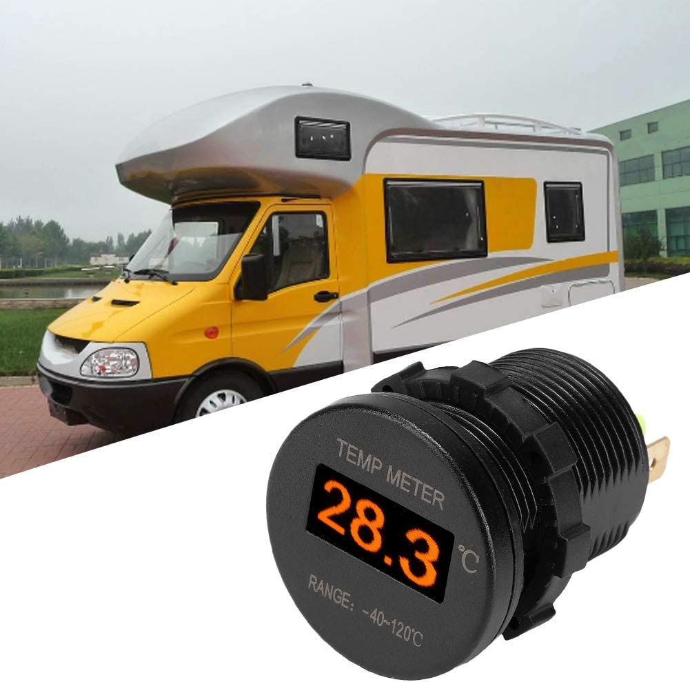 Yctze Organic LED Thermometer,-40-120℃ Organic LED Display DC Mini Thermometer Temperature Monitor Car Dashboard Meter