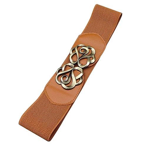 iShine cinturones de flores Moda Mujer Stretch Ancho Elástico Cinturones Correa de Cuero para Vestir