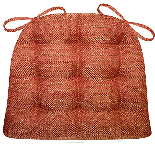 Barnett Products Dining Chair Pads with Ties - Brisbane Apple Red - Size Extra-Large - Latex Foam Fill, Reversible, Tufted - Apple Chair Pad