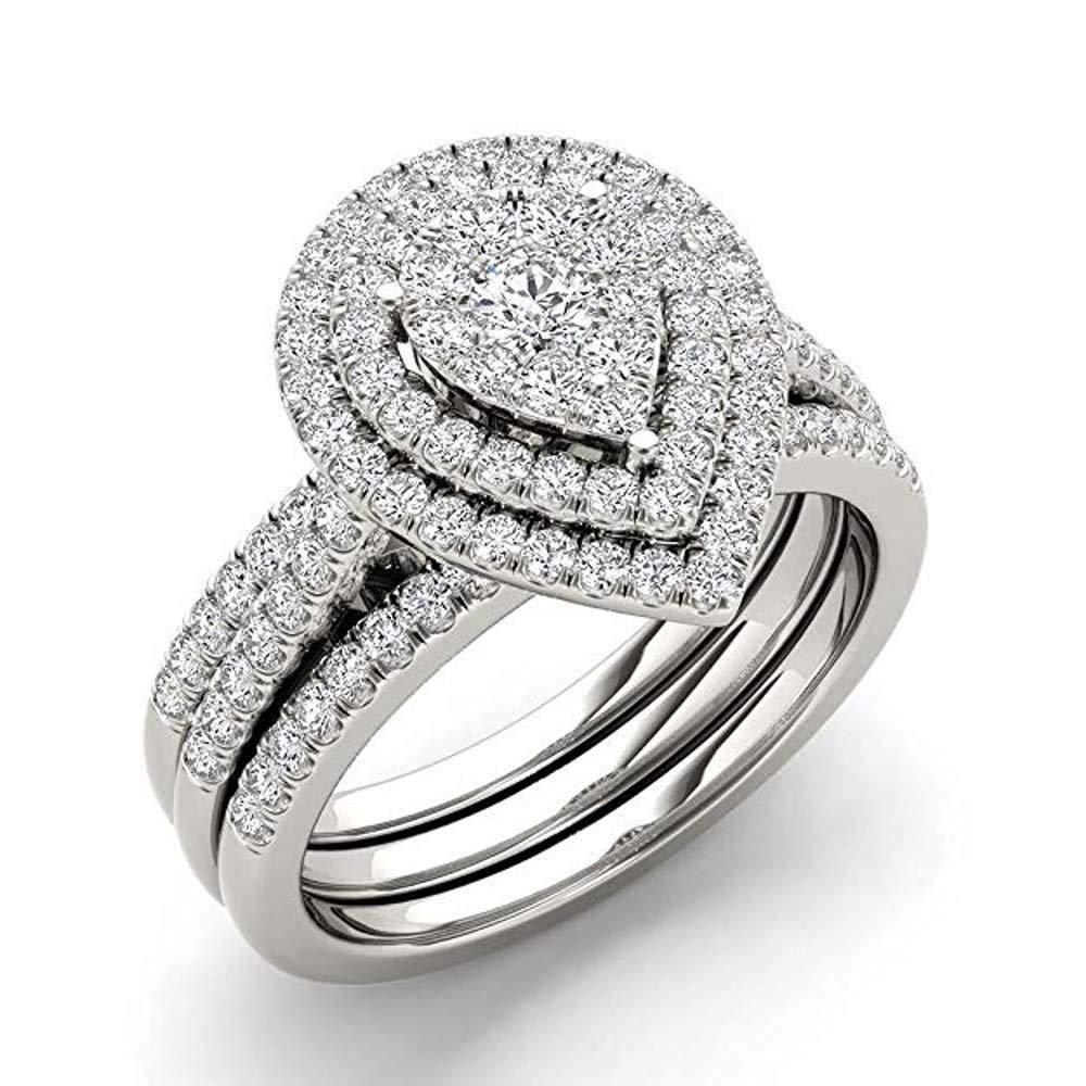 Silvergemking 5/8ct TDW Pear Shaped Cluster Halo Bridal Wedding Ring Set SGKR-2040