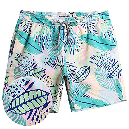 MaaMgic Mens Boys Short Swim Trunks Fern Leaves Swimsuits Swim Shorts Bathing Suits for Men