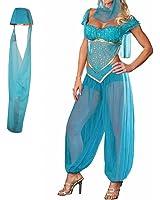 H88 Jasmine Genie Belly Women Dancer Arabian Nights Fancy Dress Costume