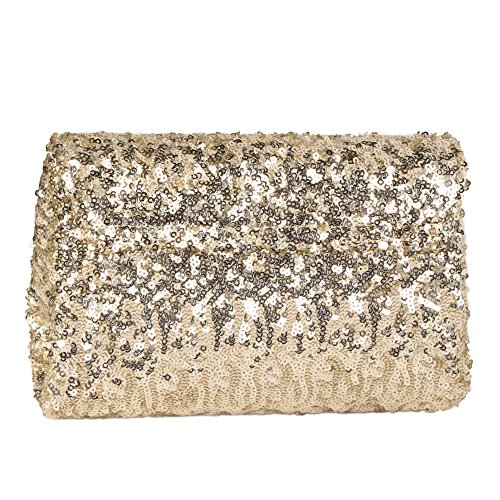 and Bag Wrist Sequin for Chain Crossbody Purse with with Gold Sparkly Party Women Flap Clutch Evening 8aPTwnWqx