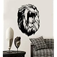 Vinyl Wall Decal Abstract Lion Head African Animal Fangs Stickers