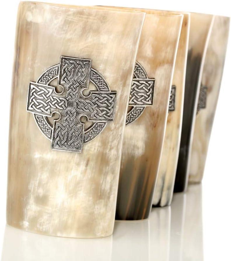 Rinderhorn /& Verzierung aus Zinn Eburya Keltisches Kreuz Wikinger Hornbecher 0,5 l