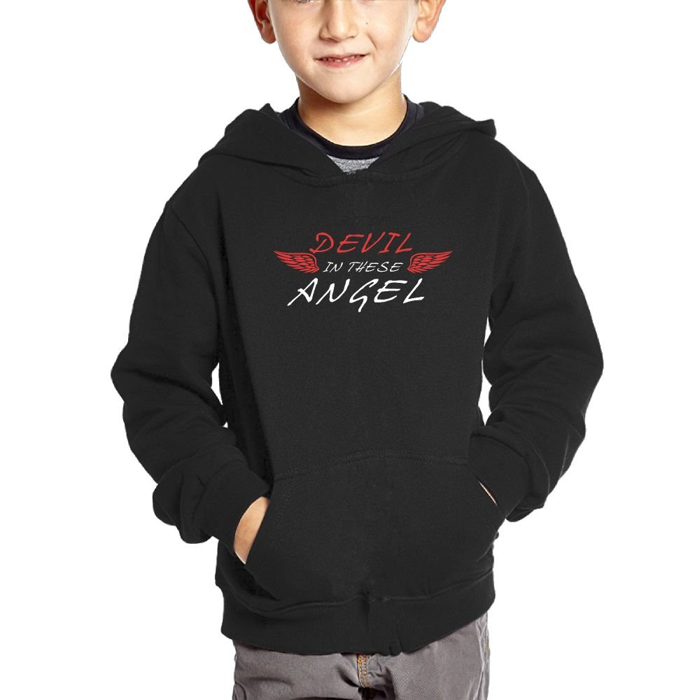 Small Hoodie Bit of Devil in These Angel Boys Casual Soft Comfortable Sweatshirts Kangaroo Pocket Hoodies