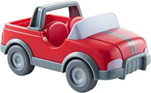 HABA Little Friends Vet Car - Red Plastic Vehicle with Momentum Motor, Trailer Hitch and Folding Tail Gate