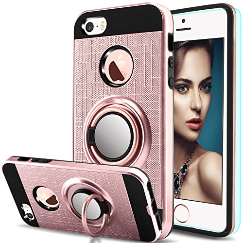 iPhone 5S Case,iPhone 5 Case,iPhone SE Case,iPhone 5SE case with HD Screen Protector,Anoke Cellphone 360 Degree Rotating Ring Holder Kickstand Drop Protective Cover for Apple iPhone 5 ZS Rose Gold