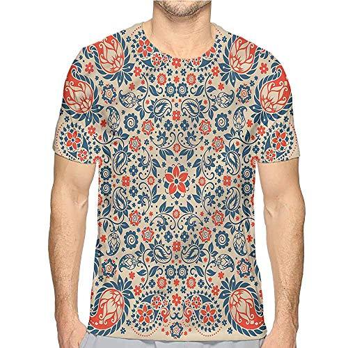(Jinguizi Mens t Shirt Paisley,Cultural Folk Persian HD Print t Shirt M)