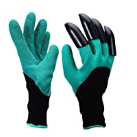 Claws Garden Genie Gloves - 1Pair with 4 Fingertips Claws Quick & Easy to Dig and Plant Safe for Rose Pruning, Digging & Planting Nursery Plants,Best Gift Gardening Tool (Green)