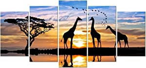 Pyradecor 5 Piece Modern Stretched African Landscape Canvas Prints Animals Sunset Artwork Pictures Paintings on Canvas Wall Art for Living Room Bedroom Kitchen Home Decorations