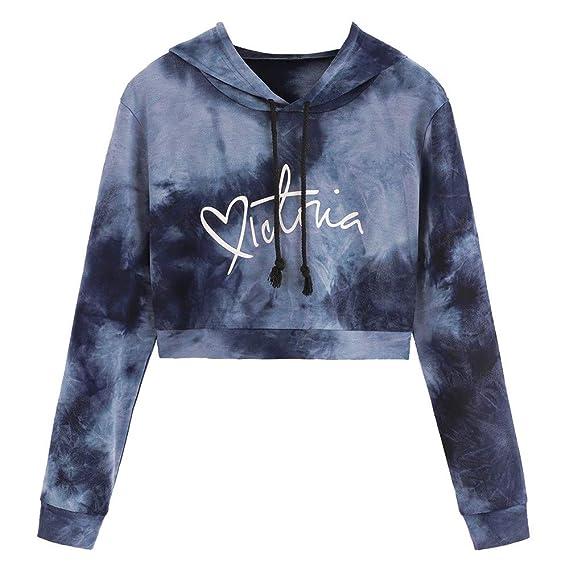 Bekleidung YWLINK Mode Damen Lange ÄRmel Rauch Drucken Kapuzenpullover Pullover Tops Tumblr Bluse