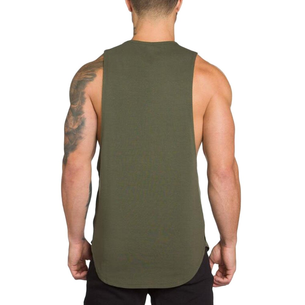 MODOQO Men's Tank Tops Fitness Sleeveless Cotton O-Neck T-Shirt Gym Vest(Army Green,M) by MODOQO (Image #4)