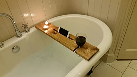 Vassoio Vasca Da Bagno : Mensola portaoggetti e vassoio per vasca da bagno in rovere scuro