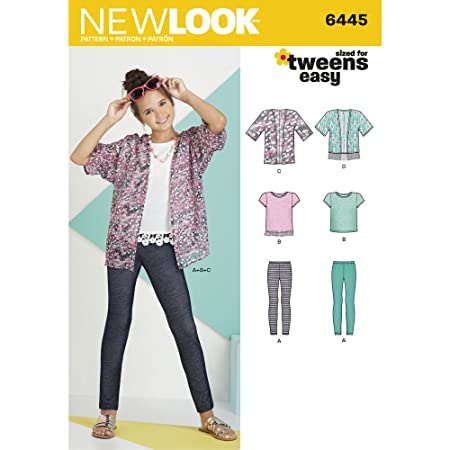 New Look Easy Girl\'s Kimono/Knit Top and Leggings Sewing Pattern ...