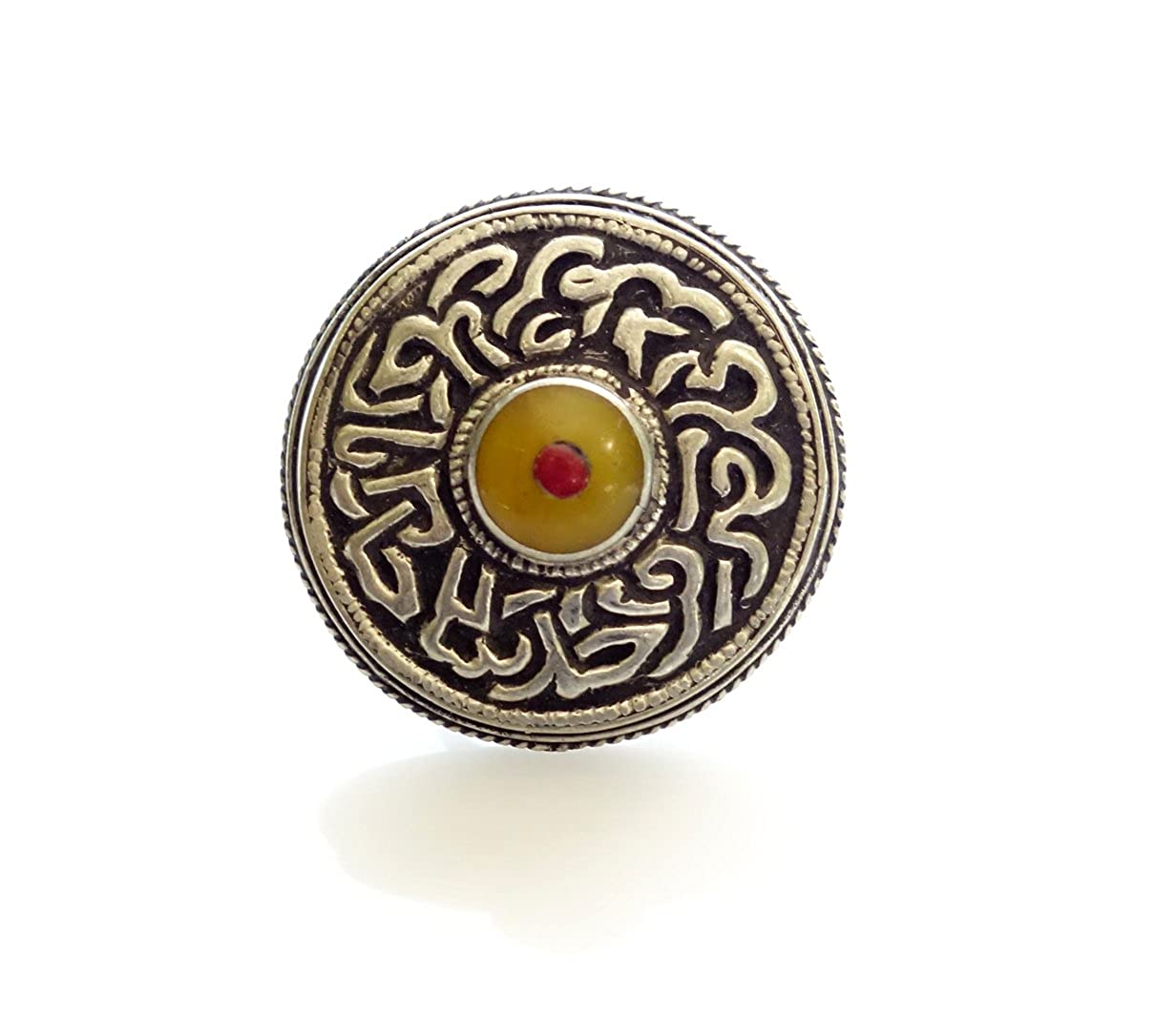 Tibetan Silver Amber Ring Coral Ring FINE Engraving Filigree in Modern Design Tribal Look Gypsy Ring Round Shape Ring for Unisex Men Women Young Girls Boys