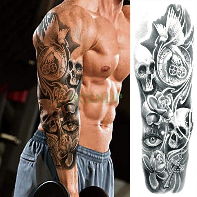 Tatuaje impermeable apliques Dragon Lotus Full Arm Body Art Tattoo ...