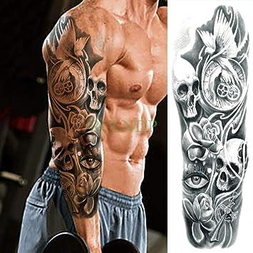 Etiqueta engomada del tatuaje a prueba de agua Flor Cráneo Ojos ...