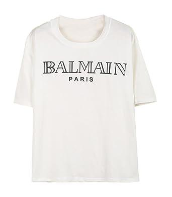 Sheinside® Damen T Shirt mit BALMAIN Druck, weiß (M, weiß