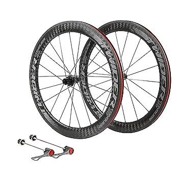 LIDAUTO Rueda de Bicicleta de Carretera 700C 4 rodamientos de Rueda Libre Bujes de Fibra de Carbono de 60 mm de llanta Logo Reflectante,Black: Amazon.es: ...