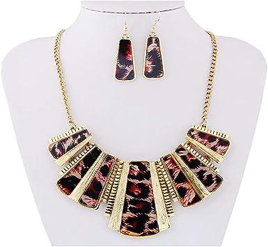 Wenini Fashion New Girl Women Mixed Style Bohemia Leopard Bib Chain Necklace+Earrings Jewelry Blue