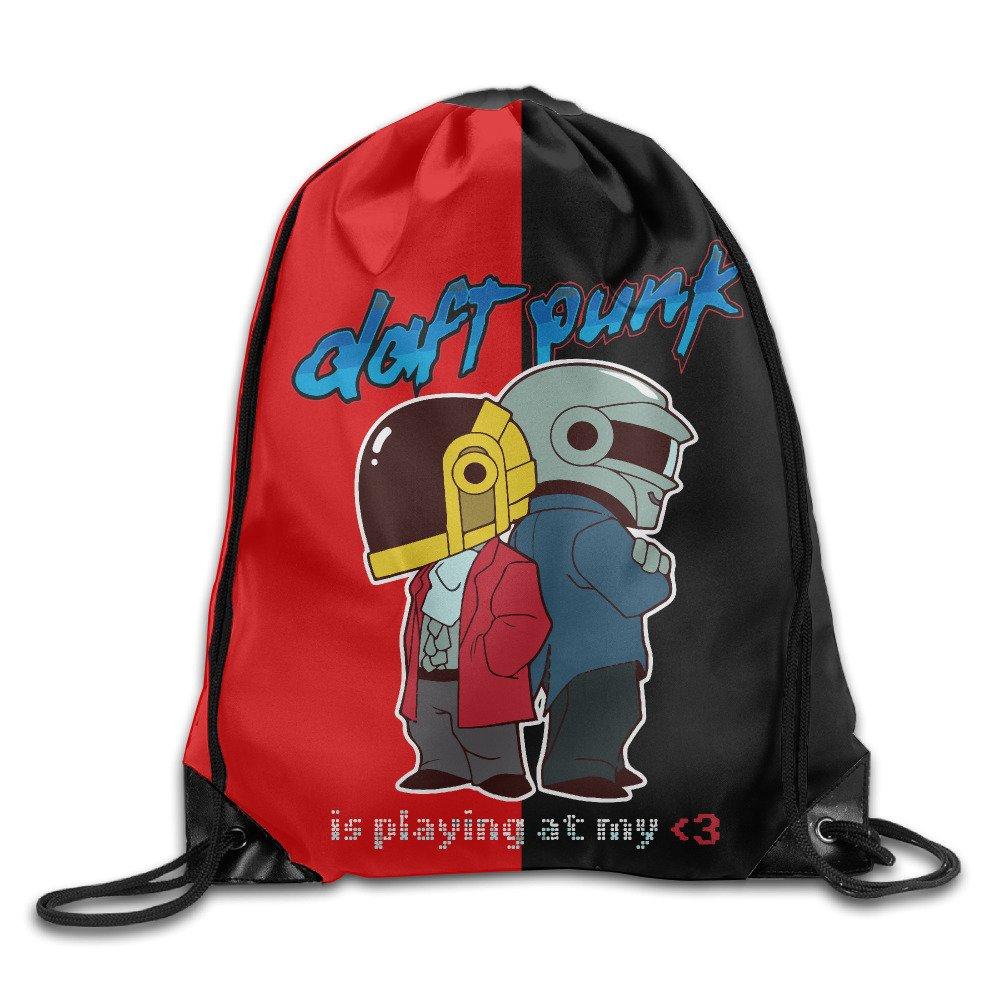 NaDeShop Daft Punk Band Logo Drawstring Backpack Sack Bag Travel Bag