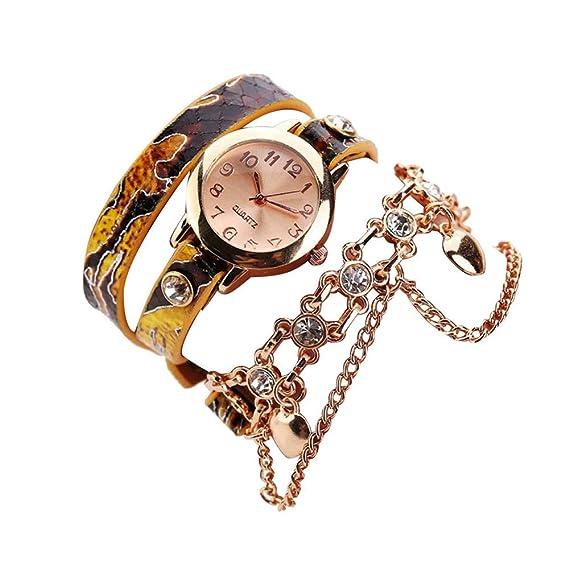 Bestow Mujer Cuero Rhinestone Rivet Cadena Serpiente Collar Reloj Envolvente Cuarzo Pulsera Reloj de Pulsera Rojo(Amarillo): Amazon.es: Ropa y accesorios