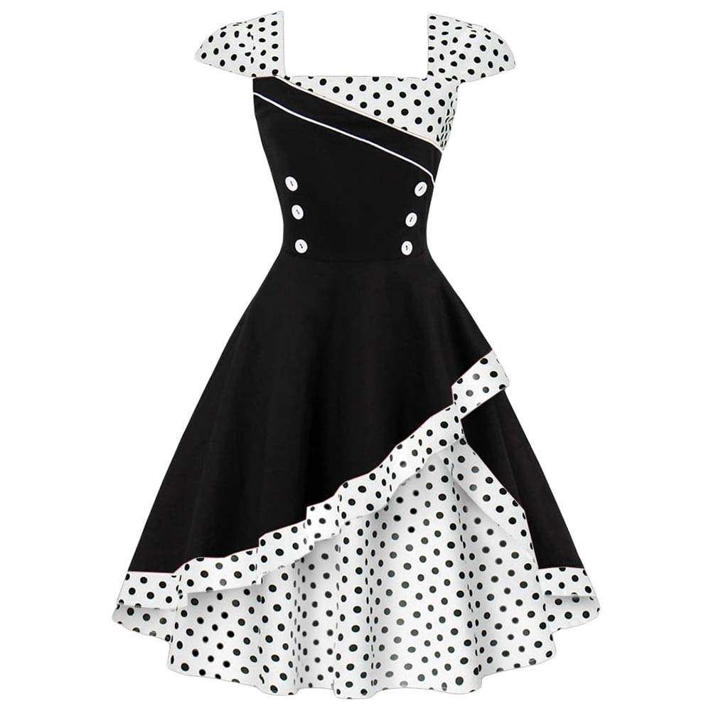 FUZHUANGHM Women Retro Dress Vintage Rockabilly Swing Polka Dot Print Cosplay Cotton Dress