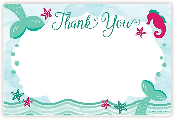 Mermaid Theme Thank You Cards Girls Birthday Glitter Thank You Notes 8 Pack