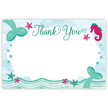 Amazon Mermaid Birthday Thank You Cards 20 Count Office