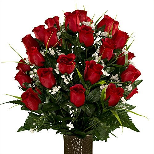 Artificial Cemetery Flowers for Outdoor-Grave-Decorations - Red-Roses with Lily Grass Fake Flowers, Non-Bleed Colors, with Stay-in-The-Vase Design