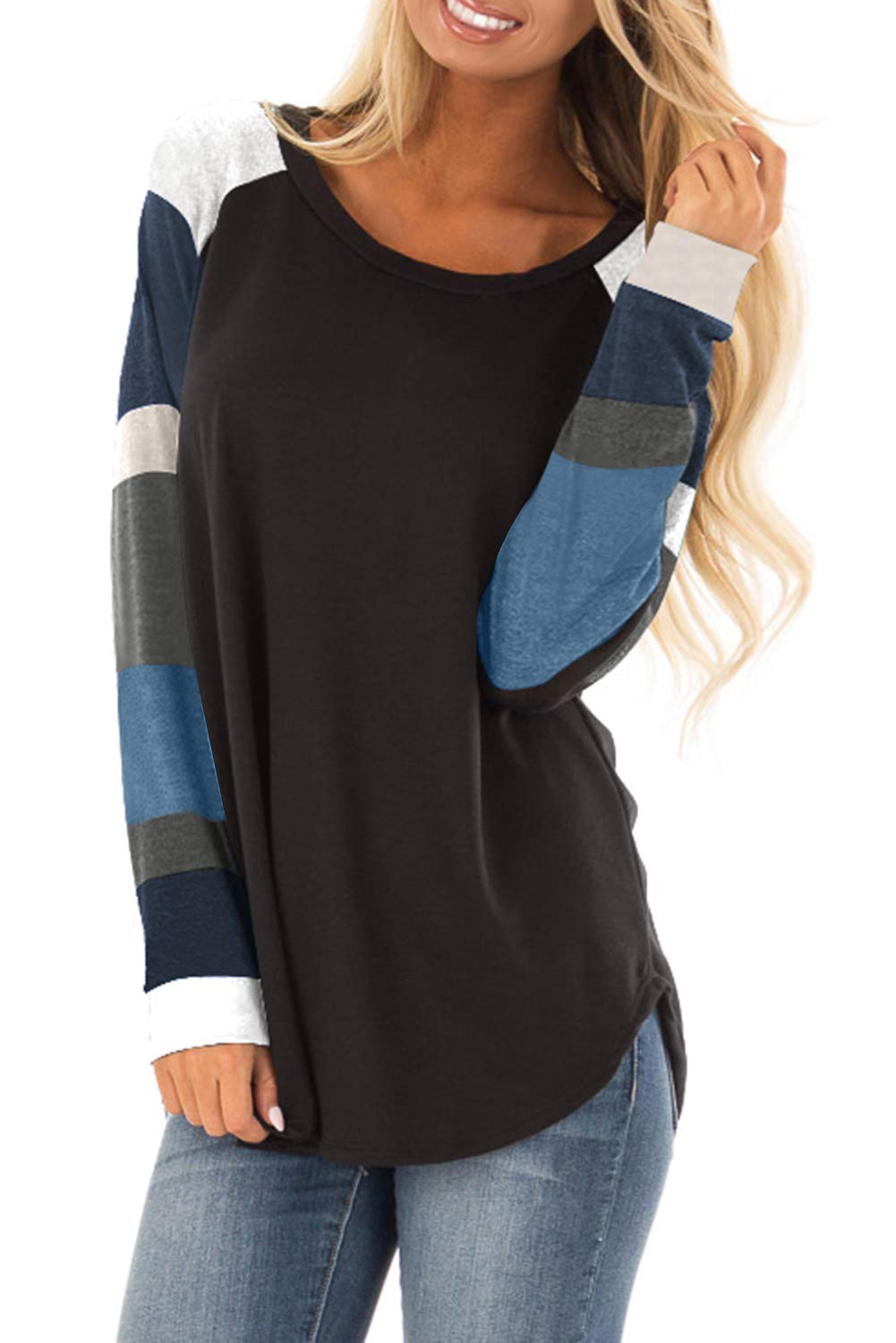 Asvivid Womens Casual Color Block Long Sleeve Pullover Tops Loose Lightweight Tunic Sweatshirt